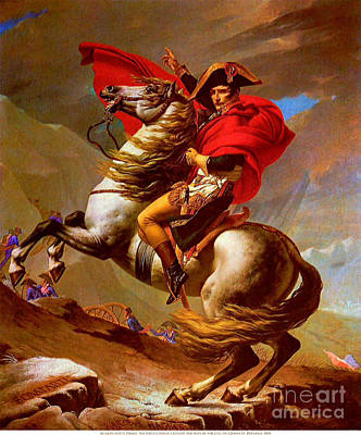 David Jacques Louis 1748-1825 Painting - Louis Napoleon At The St Bernard Pass by Pg Reproductions