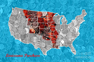 Louisiana Purchase Coin Map . V2 Print by Wingsdomain Art and Photography