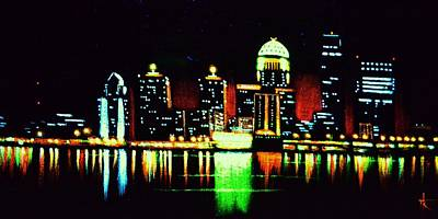 Louisville In Black Light Print by Thomas Kolendra