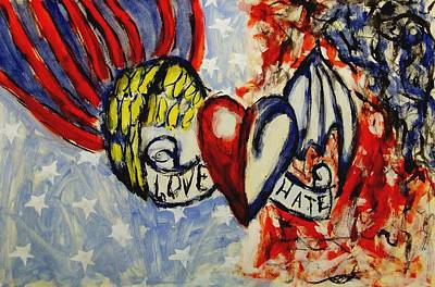 Love And Hate Angel And Devil American Hearts And Flags With Wings And Stars Print by MendyZ M Zimmerman