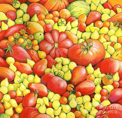 Love Apples ... Heirloom Tomatoes Print by Susan A Walton