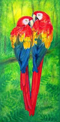 Macaw Art Painting - Love Birds- Macaw Parrots by Sue Halstenberg