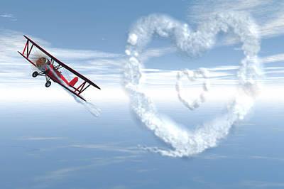 Bi Plane Digital Art - Love Is In The Air by Carol and Mike Werner
