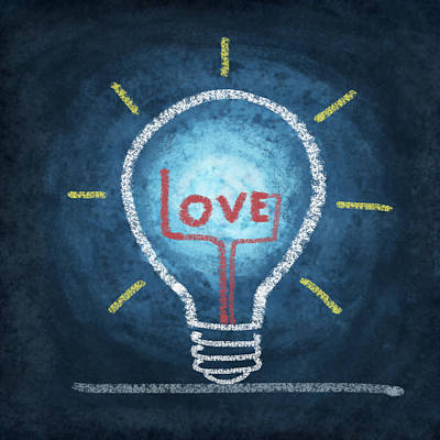 Love Word In Light Bulb Print by Setsiri Silapasuwanchai