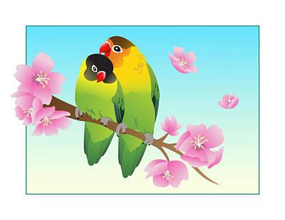 Lovebird Digital Art - Lovebird Pair by Amanda Sherman