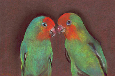 Lovebird Mixed Media - Lovebirds by Wendy McKennon
