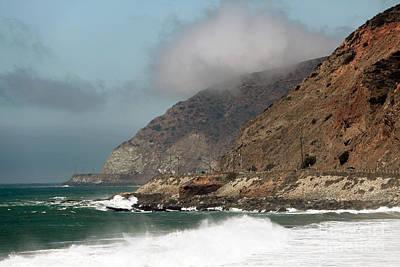 Low Clouds On The Pacific Coast Highway Print by John Rizzuto
