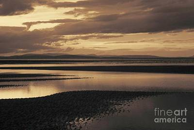 Low Tide At Findhorn Bay A Coastal Picture In Sepia Print by John Kelly