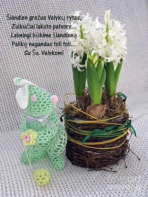 Lt Easter Greeting. Bunny. Lithuanian Text Print by Ausra Huntington nee Paulauskaite