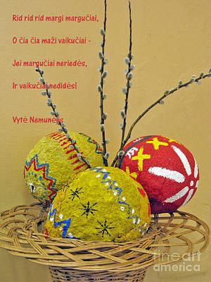 Lt Easter Greeting. Lithuanian Text 01 Print by Ausra Huntington nee Paulauskaite