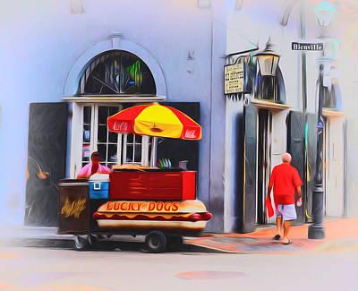 Hot Dog Digital Art - Lucky Dogs - Bourbon Street by Bill Cannon