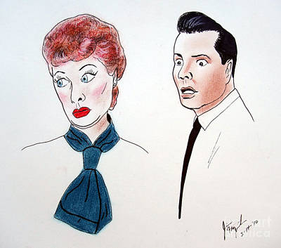 Lucille Drawing - Lucy And Ricky by Jim Fitzpatrick