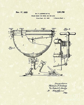 Drum Drawing - Ludwig Drums 1925 Patent Art by Prior Art Design