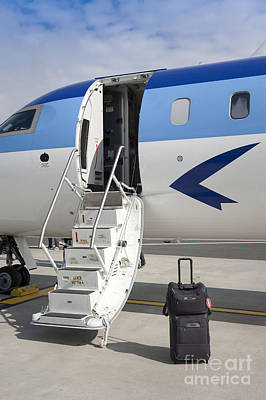 Airline Industry Photograph - Luggage Near Airplane Steps by Jaak Nilson