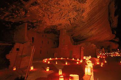 Luminarias Light Up The Anasazi Spruce Print by Ira Block