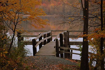 Lums Pond Fishing Pier Print by Donna Harding