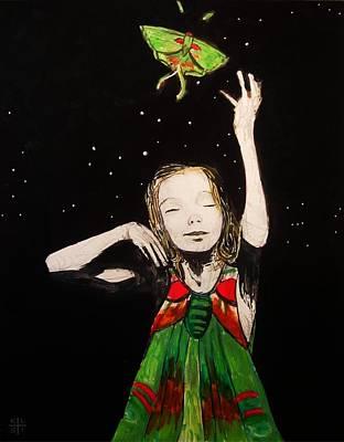Luna Moth Drawing - Luna by Kathleen Isacson
