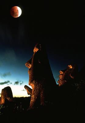 Megalith Photograph - Lunar Eclipse by David Nunuk