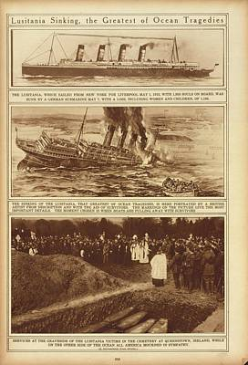 Lusitania Sinking The Greatest Of Ocean Print by Everett