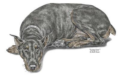 Dobermann Drawing - Lying Low - Doberman Pinscher Dog Print Color Tinted by Kelli Swan