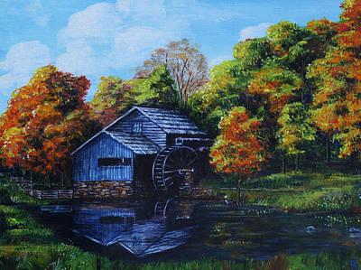 Mabry Painting - Mabry Mill In Autumn by Shirley Heyn