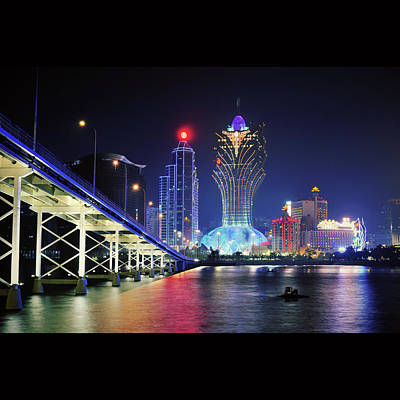 Macau City At Night Print by Thank you for choosing my work.