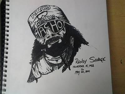 Randy Macho Man Savage Drawing - Macho Man by Mark Norman II