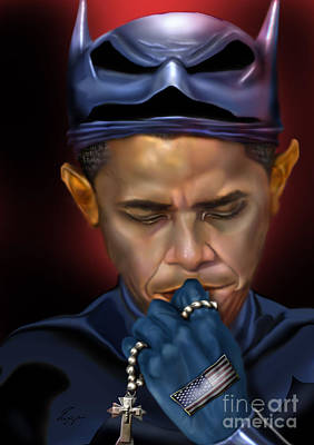 The Obamas Painting - Mad Men Series 1 Of 6 - President Obama The Dark Knight by Reggie Duffie