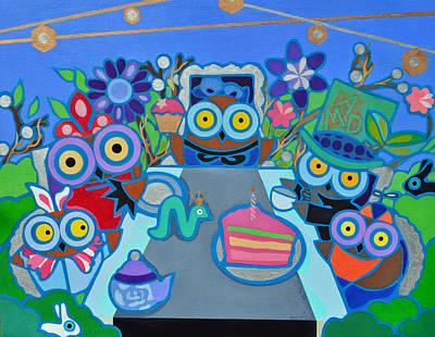 Mad Owls Tea Print by Jenny Valdez