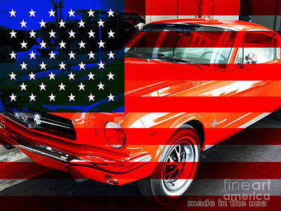 Made In The Usa . Ford Mustang Print by Wingsdomain Art and Photography