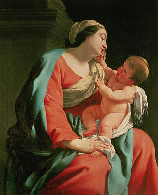 New Born Painting - Madonna And Child by Simon Vouet