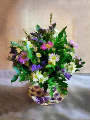 Chrysanthemum Photograph - Magenta And White Mum Bouquet by Susan Savad