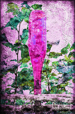 Magenta Bottle Triptych 3 Of 3 Print by Andee Design