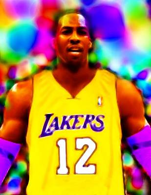 La Lakers Drawing - Magical Dwight Howard Laker by Paul Van Scott