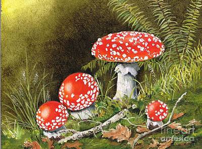 Forest Floor Painting - Magical Mushrooms by Val Stokes