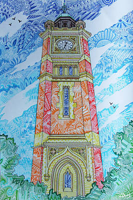 Maidenhead Drawing - Maidenhead Clock Tower by Laura Hol Art