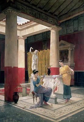 Maidens In A Classical Interior Print by Luigi Bazzani