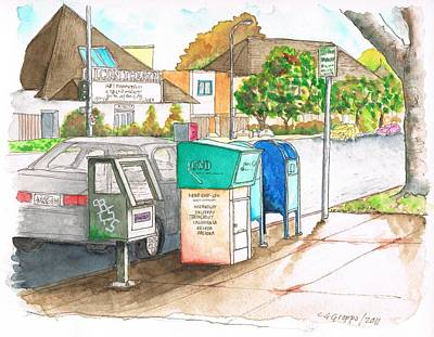 Mail Box Painting - Mail Boxes In Toluca Lake - California by Carlos G Groppa