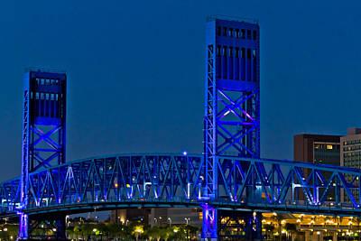 Main Street Bridge Jacksonville Print by Debra and Dave Vanderlaan