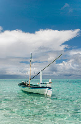 Maldivian Boat Dhoni On The Peaceful Water Of The Blue Lagoon Print by Jenny Rainbow
