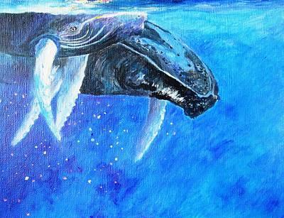 Pele Painting - Mama And Baby Whale by Tamara Tavernier