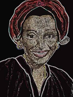 Gold Earrings Mixed Media - Mama Nura by Duwayne Washington