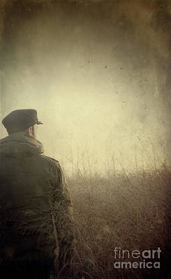 Thoughtful Photograph - Man Alone In Autumn Field by Sandra Cunningham