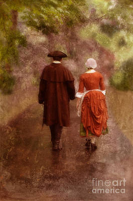 Colonial Man Photograph - Man And Woman In 18th Century Clothing Walking by Jill Battaglia