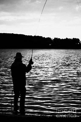 Man Flyfishing Lake Ireland Print by Joe Fox