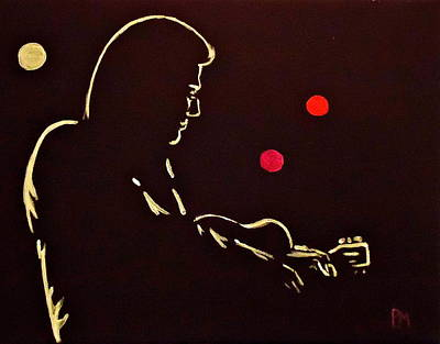 Johnny Cash Drawing - Man In Backlit by Pete Maier