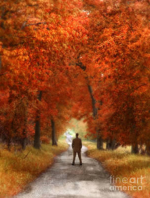 Man In Suit On Rural Road In Autumn Print by Jill Battaglia