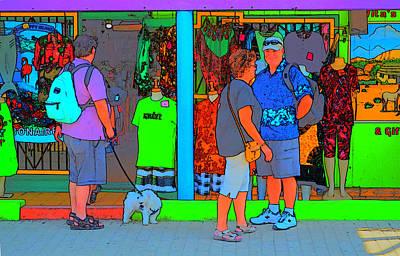 Walking The Dog Digital Art - Man With Dog by Richard Ortolano
