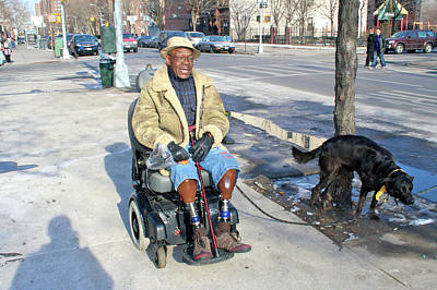 Harlem Ny Photograph - Man With Dog by Terry Wallace