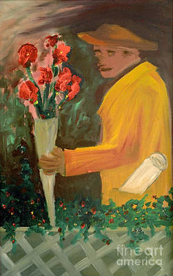 Novel Painting - Man With Flowers  by Bruce Stanfield